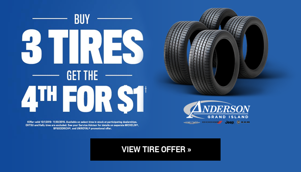 Buy 3 Tires Get 1 For $1 at Anderson CDJR